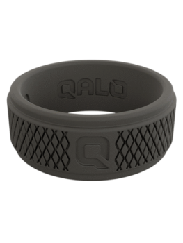 Qalo Men's Crosshatch Silicone Band - Dark Grey