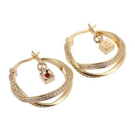 Elle Sterling Silver CZ Hoop Earrings - Gold Plated