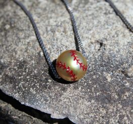 Galatea Sterling Silver Freshwater Pearl Softball Necklace