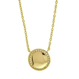 Sterling Silver Engravable Disc Necklace - Gold Plated