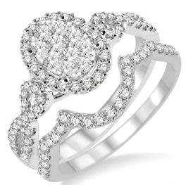 Ladies 14K White Gold Diamond Engagement Set - .85Ct - Size 6.5