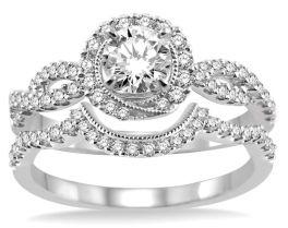 Ladies 14K White Gold Diamond Engagement Set - 3/4Ct - Size 6
