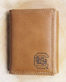 USC Embossed Leather Trifold Wallet