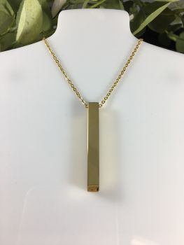 Stainless Steel Cube Bar Necklace - Gold Plated