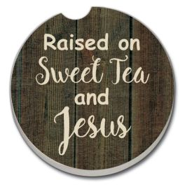 Raised On Sweet Tea & Jesus Car Coaster