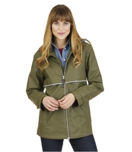 Olive New Englander Rain Jacket with Printed Lining