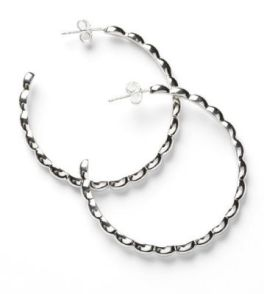 Sterling Silver Large Rice Bead Hoops - 40mm