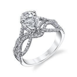 Ladies 14K White Gold Diamond Engagement Ring - Size 6.5