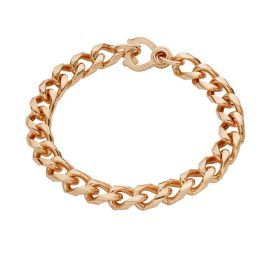 Copper Diamond-Cut 9mm Curb Bracelet - 8""