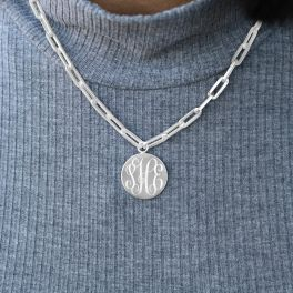 """Sterling Silver Thick Paper Clip Chain With Engravable Disc - 16"""""""