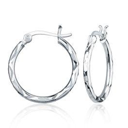 Sterling Silver Small Diamond Cut Hoop Earrings