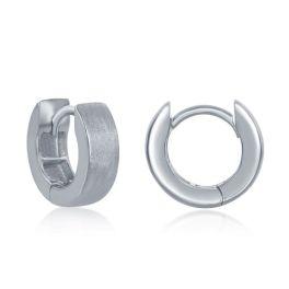 Sterling Silver Brushed Huggie Hoop Earrings