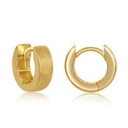 Sterling Silver Gold Plated Brushed Huggie Hoop Earrings