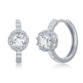 Sterling Silver Prong Crown Set CZ Huggie Hoop Earrings