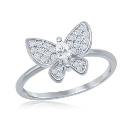 Sterling Silver Cubic Zirconia Butterfly Ring