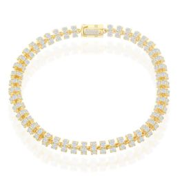 """Sterling Silver Gold Plated 6mm Cubic Zirconia Barrel Chain Bracelet - 9"""""""