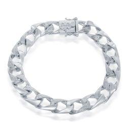 """Men's Sterling Silver Fleur De Lis Cuban Bracelet - 8.25"""""""