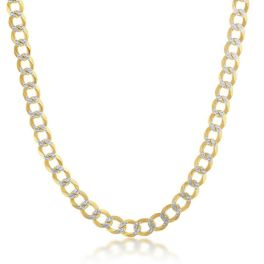 """Sterling Silver Gold Plated 5mm Pave Cuban Chain - 18"""""""