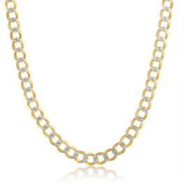 """Sterling Silver Gold Plated 5mm Pave Cuban Chain - 20"""""""