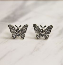 Sterling Silver Cubic Zirconia Butterfly Stud Earrings
