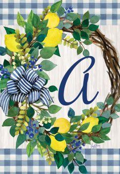 Lemon Wreath Monogram Garden Flag