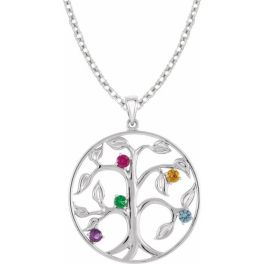 Sterling Silver 5-Stone Family Tree Necklace
