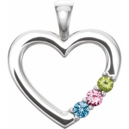 Sterling Silver 3-Stone Family Heart Pendant