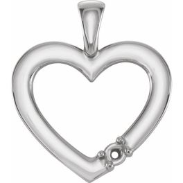 Sterling Silver 1-Stone Family Heart Pendant