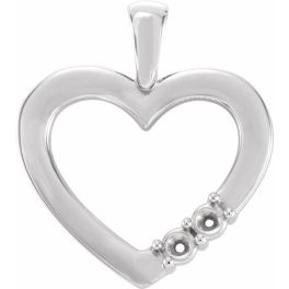 Sterling Silver 2-Stone Family Heart Pendant