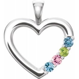 Sterling Silver 4-Stone Family Heart Pendant