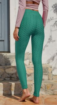 And They Went Viral Textured Leggings - Emerald Green