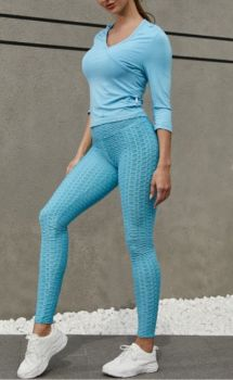 And They Went Viral Textured Leggings - Light Blue