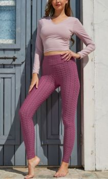 And They Went Viral Textured Leggings - Mauve