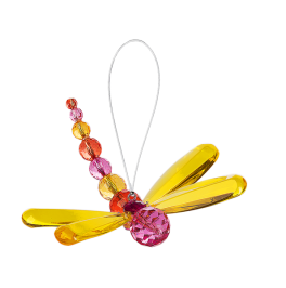 Beaded Dragonfly Ornament - Yellow