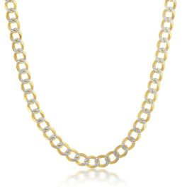 """Sterling Silver Gold Plated 5mm Pave Cuban Chain - 22"""""""