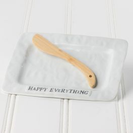 Happy Everything Ceramic Plate With Spreader