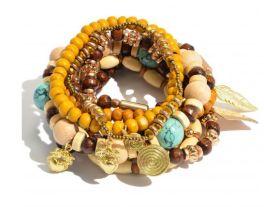 Boldly Boho Bracelet - Natural/Mustard