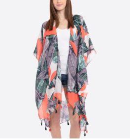 Tropic Paradise Kimono - Neon Coral