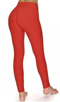And They Went Viral Textured Leggings - Red