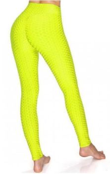 And They Went Viral Textured Leggings - Neon Yellow