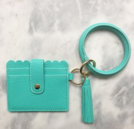 Card Holder Key Ring Bangle - Blue