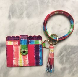Card Holder Key Ring Bangle - Tie Dye