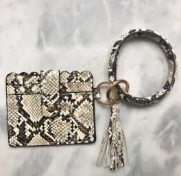Card Holder Key Ring Bangle - Snake Print
