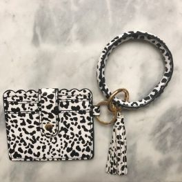 Card Holder Key Ring Bangle - Black & White Spotted