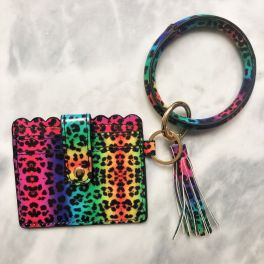 Card Holder Key Ring Bangle - Rainbow