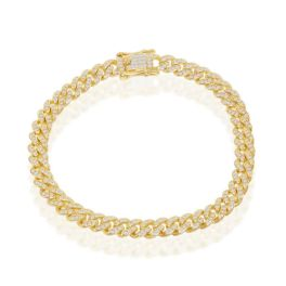 """Gold Plated Sterling Silver Micro Pave CZ Miami Cuban Bracelet - 7.5"""""""