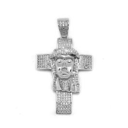 Sterling Silver Jesus CZ Cross Pendant