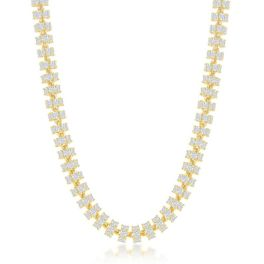 """Sterling Silver Gold Plated 6mm Barrel Cubic Zirconia Chain - 22"""""""