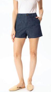 Day Dreamer High Rise Linen Shorts - Dark Wash