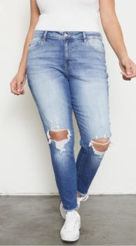Straight To It Plus High Rise Distressed Skinny Jeans - Light Wash